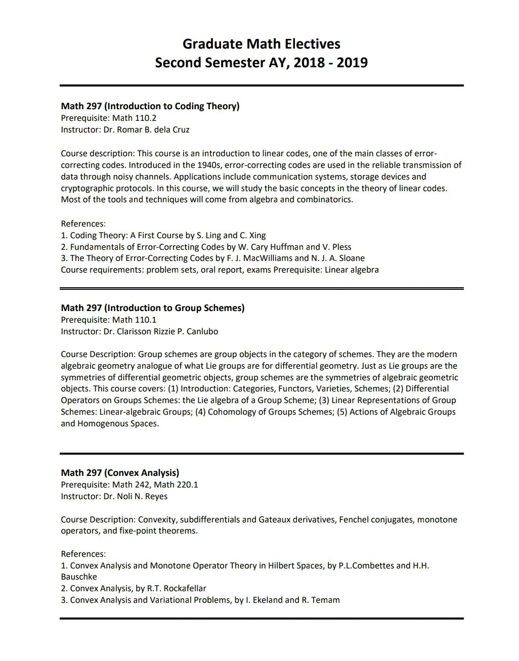 Graduate Math Elective | Institute of Mathematics